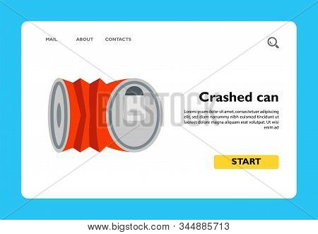 Vector Icon Of Crashed Can. Garbage, Tinned Can, Soda. Canned Food Concept. Can Be Used For Topics L