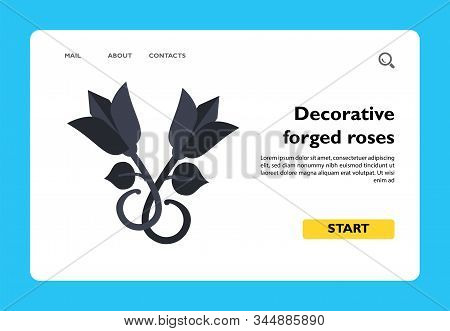 Vector Icon Of Decorative Forged Roses. Decorative Element, Wrought Iron, Handmade. Iron Works Conce