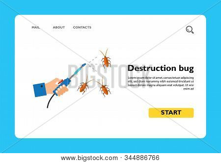 Icon Of Destruction Bug. Hand, Spraying, Cockroach. Pest Control Concept. Can Be Used For Topics Lik