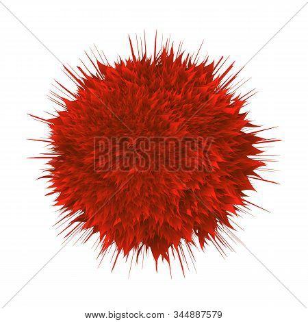 Microscopic Hiv Bacterial Microorganism Vector. Unhealthy Danger Red Viral Bacterial Organism. Epide