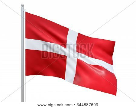 Sovereign Military Order Of Malta Flag Waving On White Background, Close Up, Isolated. 3d Render