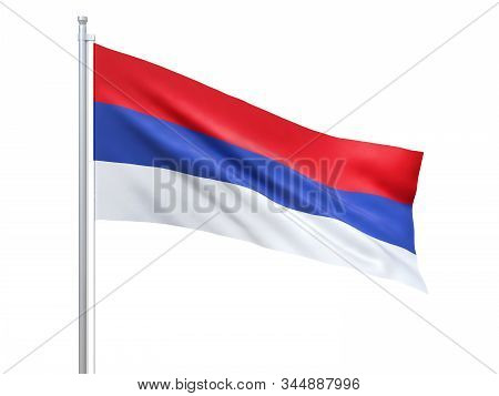 Republika Srpska Flag Waving On White Background, Close Up, Isolated. 3d Render