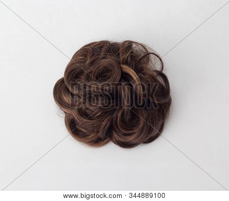 Disheveled Brown Hair, Designed Of Hairpin, Isolated On White Background