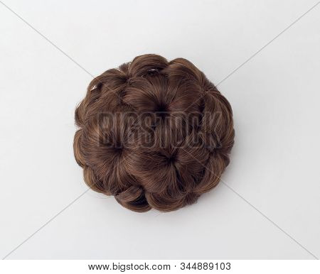 Hairpin In Shape Of Circle Designed In Wig Style Isolated On White Background