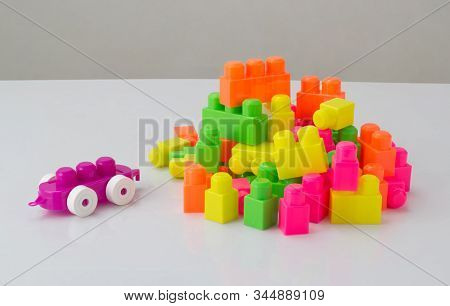 Colorful Plastic Toy Blocks Isolated On White Background