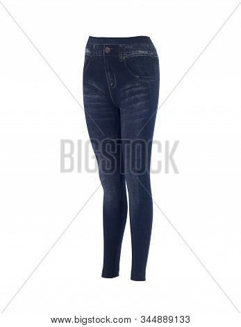 Women Denim Color Leggings Pants Isolated On White Background