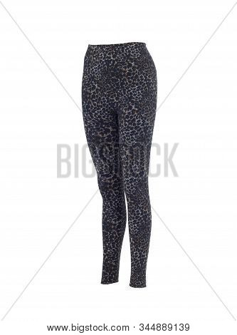 Beautiful Leopard Print Leggings Isolated On White Background