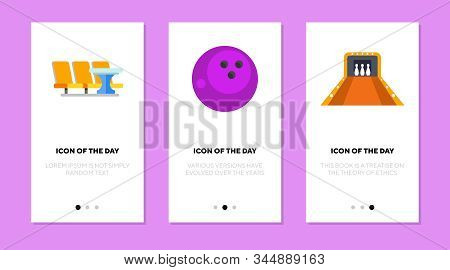 Bowling Equipment Flat Vector Icon Set. Bowling Track, Table, Ball Isolated Outline Sign Pack. Bowli