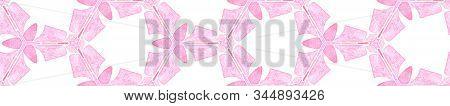 Pink Orange Vintage Kaleidoscope Seamless Border Scroll. Geometric Watercolor Frame. Ecstatic Seamle