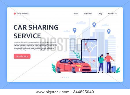 Car Rent. Cars Rent Phone Services, Car Sharing Or Taxi Mobile Application. Urban Locations, Travel