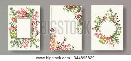 Tropical Herb Twigs, Tree Branches, Leaves Floral Invitation Cards Collection. Plants Borders Modern