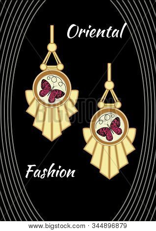 Jewel With Enamel. Golden Earrings In Art Deco Style With Butterfly Pendant In Enamel Design.