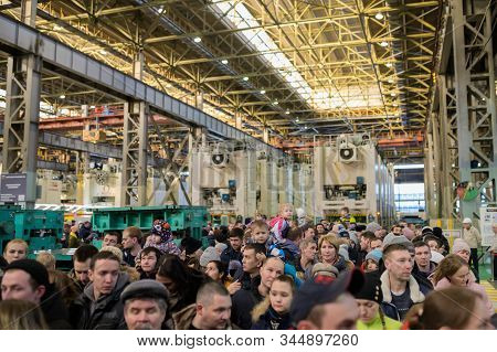 Izhevsk, Russia - December 14 2019: People Crowd On Avtovaz Izhlada Factory At Open Day On December