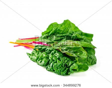 Bunch Of Swiss Chard Leafves Isolated On White Background. Fresh Swiss Rainbow Chard With Yellow, Re
