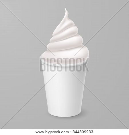 Whipped Vanilla Frozen Yogurt Or Soft Ice Cream Mockup In White Paper Cup. Isolated Illustration On
