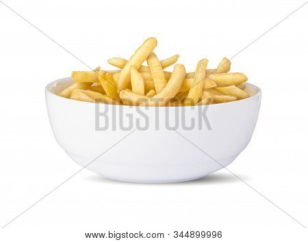 Bowl Of French Fries  In A White Background