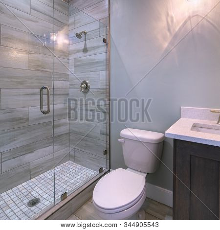Square Small Modern Bathroom With Shower And Toilet
