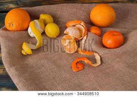 Set Of Citric Fruits. Juicy Oranges, Divided Mandarine And Lemons. Canvas Litter.