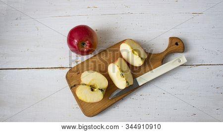 Fresh Fruits. Healthy Food. Mixed Fruit, Apples, Pomegranate, Banae, Lemon. Studio Photography Of Va