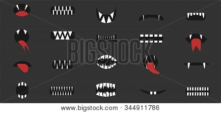 Cartoon Mouthes. Cartoon Mouth Set, Mouth With Vampire Monster Fangs And Red Tongue