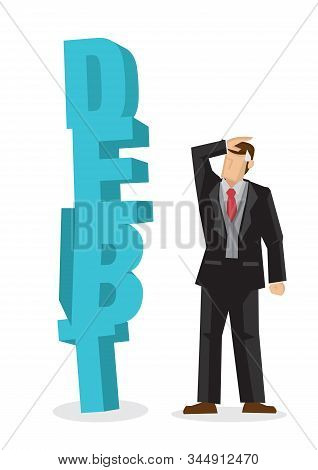 Worried Businessman Looking At A Huge Weight Of Debt. Business Concept Of Debtor, Financial Problem