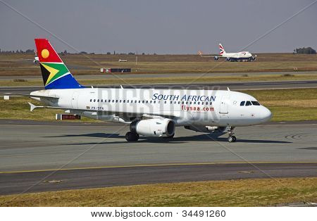 JOHANNESBURG - APRIL 18:Airbus A319 taxiing after landing on April 18, 2012 in Johannesburg, South Africa. Johannesburg Tambo airport is the busiest airport in Africa