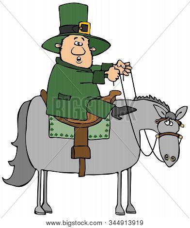 Illustration Of An Irish Leprechaun Dressed In Green Riding A Gray Horse.