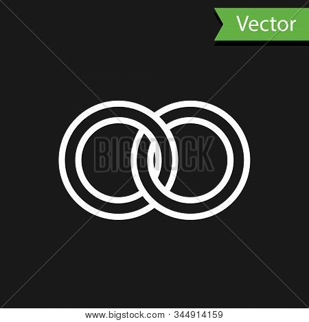 White Line Wedding Rings Icon Isolated On Black Background. Bride And Groom Jewelery Sign. Marriage