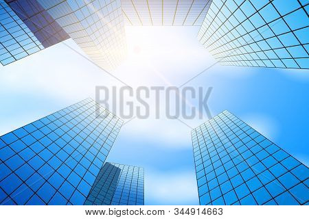 Bottom View Of Skyscrapers. Business Quarter With Glass Skyscrapers. Sunlight Over Tall Houses. Vect
