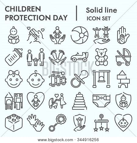 Children Protection Day Line Icon Set, Baby Stuff Symbols Collection, Vector Sketches, Logo Illustra