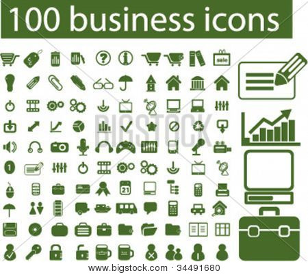 100 Business Symbole Set, Vektor