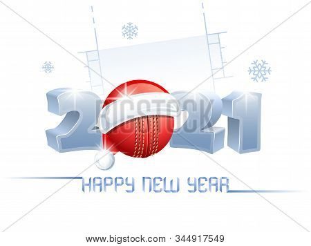 2021. Happy New Year! Sports Greeting Card With A Cricket Ball And Santa Claus Hat On The Background