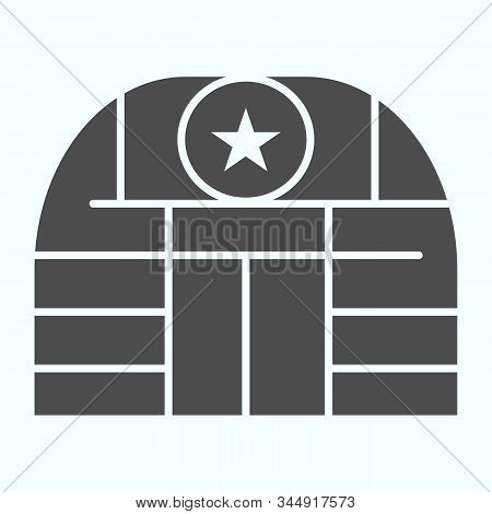 Military Base Solid Icon. Army Building Vector Illustration Isolated On White. Airbase Glyph Style D