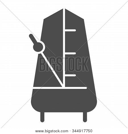 Metronome With Moving Pendulum Solid Icon. Tempo Vector Illustration Isolated On White. Musical Equi