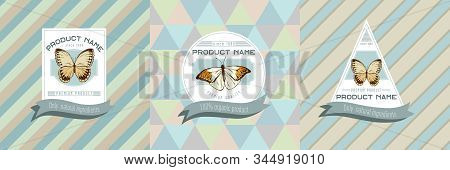 Three Colored Labels With Illustration Of Hebomoia Glaucippe, Stichophthalma Howqua Stock Illustrati