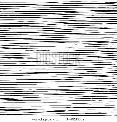 Hand Drawn Horizontal Parallel Thin Black Lines On White Background. Straight Lines Pen Sketch For G