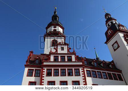 Chemnitz City In Germany (state Of Saxony). Neumarkt Square - Old City Hall.