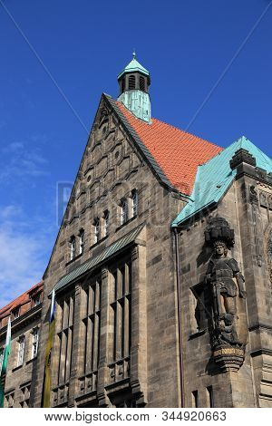 Chemnitz City In Germany (state Of Saxony). Neumarkt Square - New City Hall (neues Rathaus).