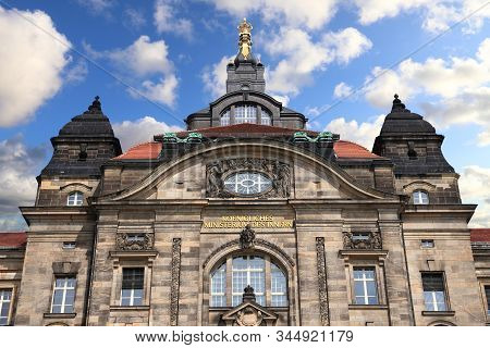 Dresden City In Germany. Sachsische Staatskanzlei: State Of Saxony Government Office.
