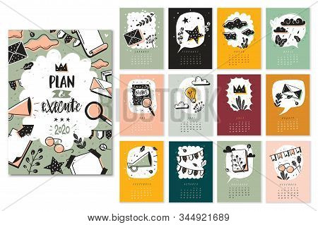 Bullet Journal Doodle Calendar Months Set. New Year 2020 Calendar Template Design With Bullet Doodle