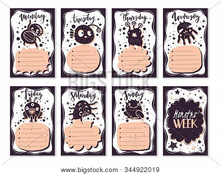 Bullet Journal Doodle Monsters Cards Set. School Weekly Planner For The Schedule Of Lessons And Assi
