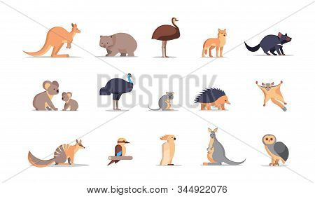 Set Cartoon Endangered Wild Australian Animals Collection Wildlife Species Fauna Concept Flat Horizo