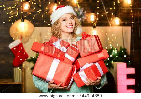 Make Your Christmas Orders And Bookings Early Enough. Girl With Gifts Presents. Christmas Is By Far