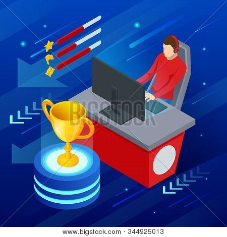 Isometric Cybersport or Electronic Sports, E-sports, or eSports, sports competition using video games. Organized multiplayer video game competitions. poster