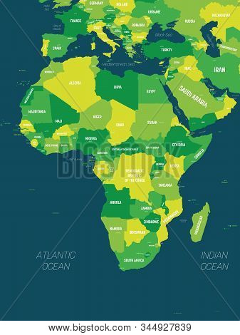 Africa Map - Green Hue Colored On Dark Background. High Detailed Political Map Of African Continent