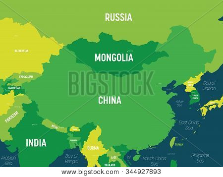 China Map - Green Hue Colored On Dark Background. High Detailed Political Map Of China And Neighbori