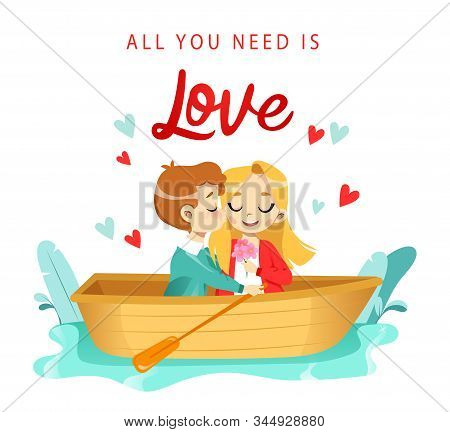 Lovers Cartoon Man And Woman Boating By The River. Warm Intimacy Young People. Manifestation Romance