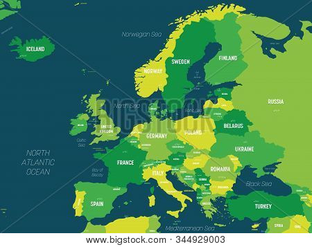 Europe Map - Green Hue Colored On Dark Background. High Detailed Political Map Of European Continent
