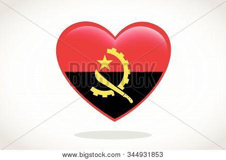 Angola Flag In Heart Shape. Heart 3d Flag Of Angola, Angola Flag Template Design.