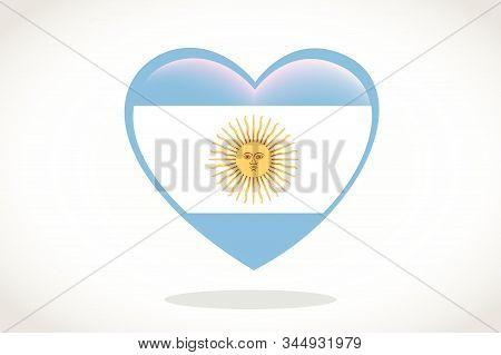 Argentina Flag In Heart Shape. Heart 3d Flag Of Argentina, Argentina Flag Template Design.